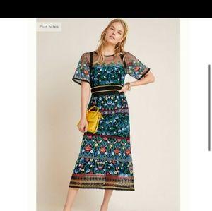 Anthropologie Embroidered Midi Dress